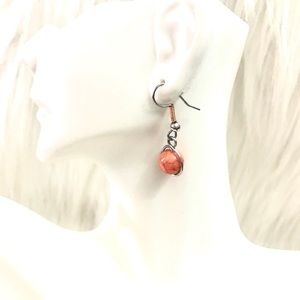 Coral marble beaded earrings